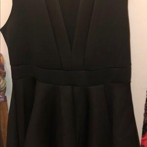Black V Neck Fit and Flare Dress